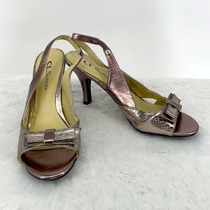 Chinese Laundry slingback shiny silver pink heels